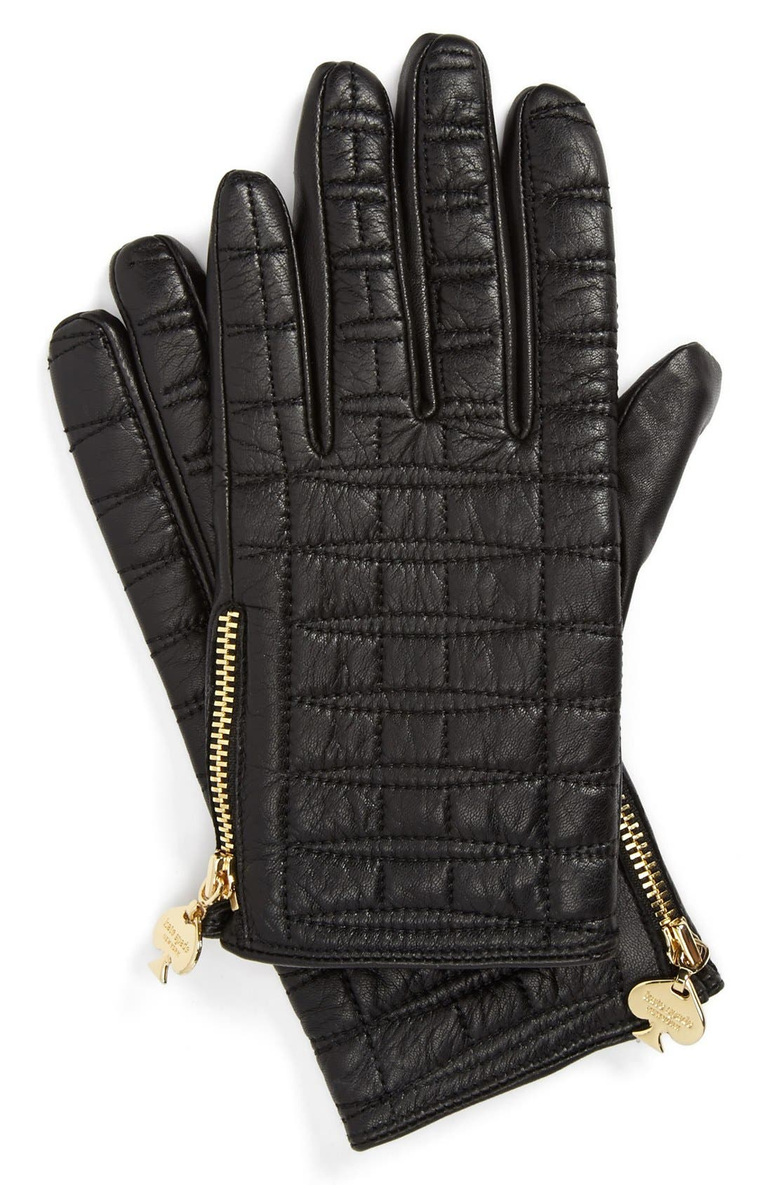 Alternate Image 1 Selected - kate spade new york quilted logo glove