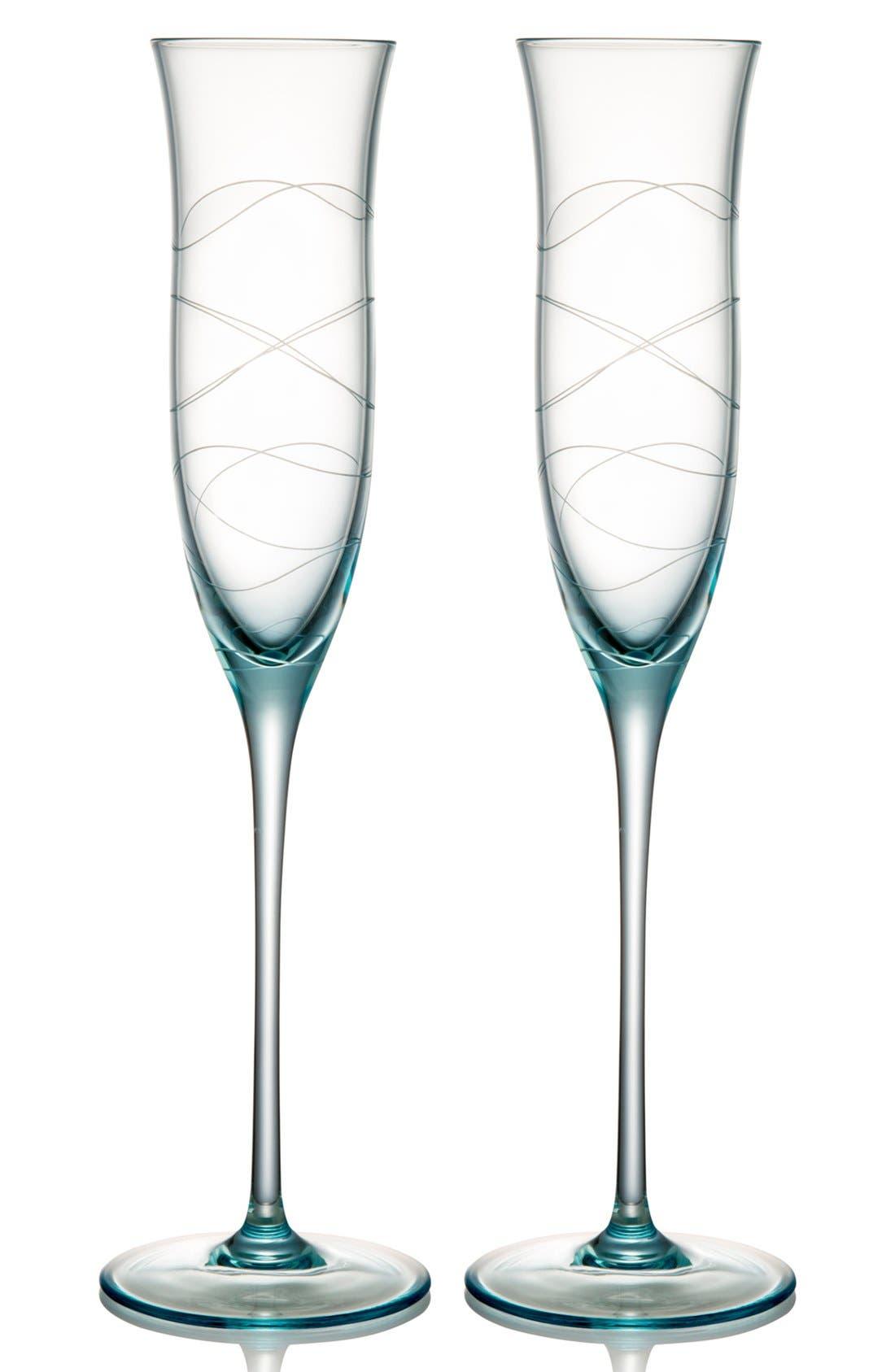 Alternate Image 1 Selected - Nambé 'Motus' Crystal Champagne Flutes (Set of 2)