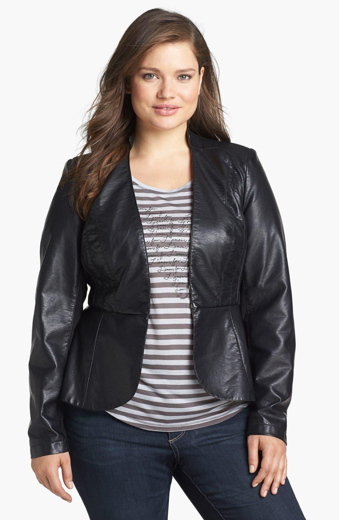 Main Image - City Chic 'Cruz' Faux Leather Jacket (Plus Size)