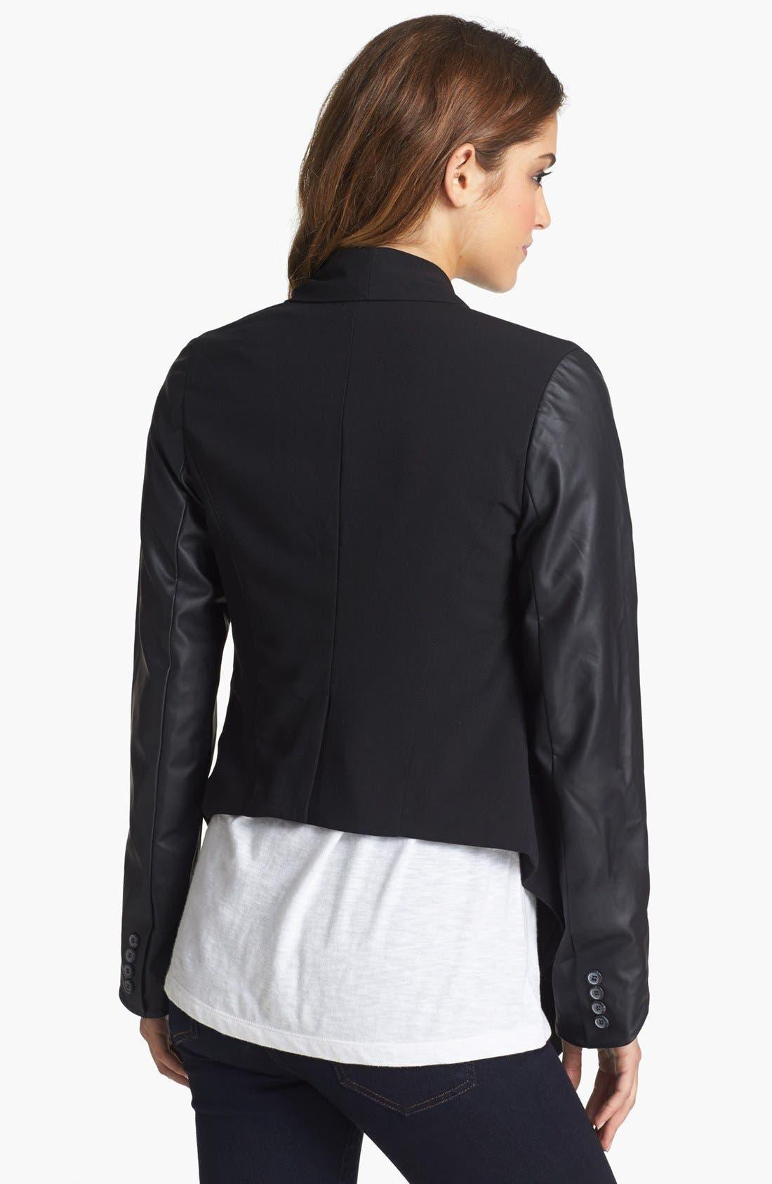 Alternate Image 2  - kensie Faux Leather Sleeve Drape Front Jacket
