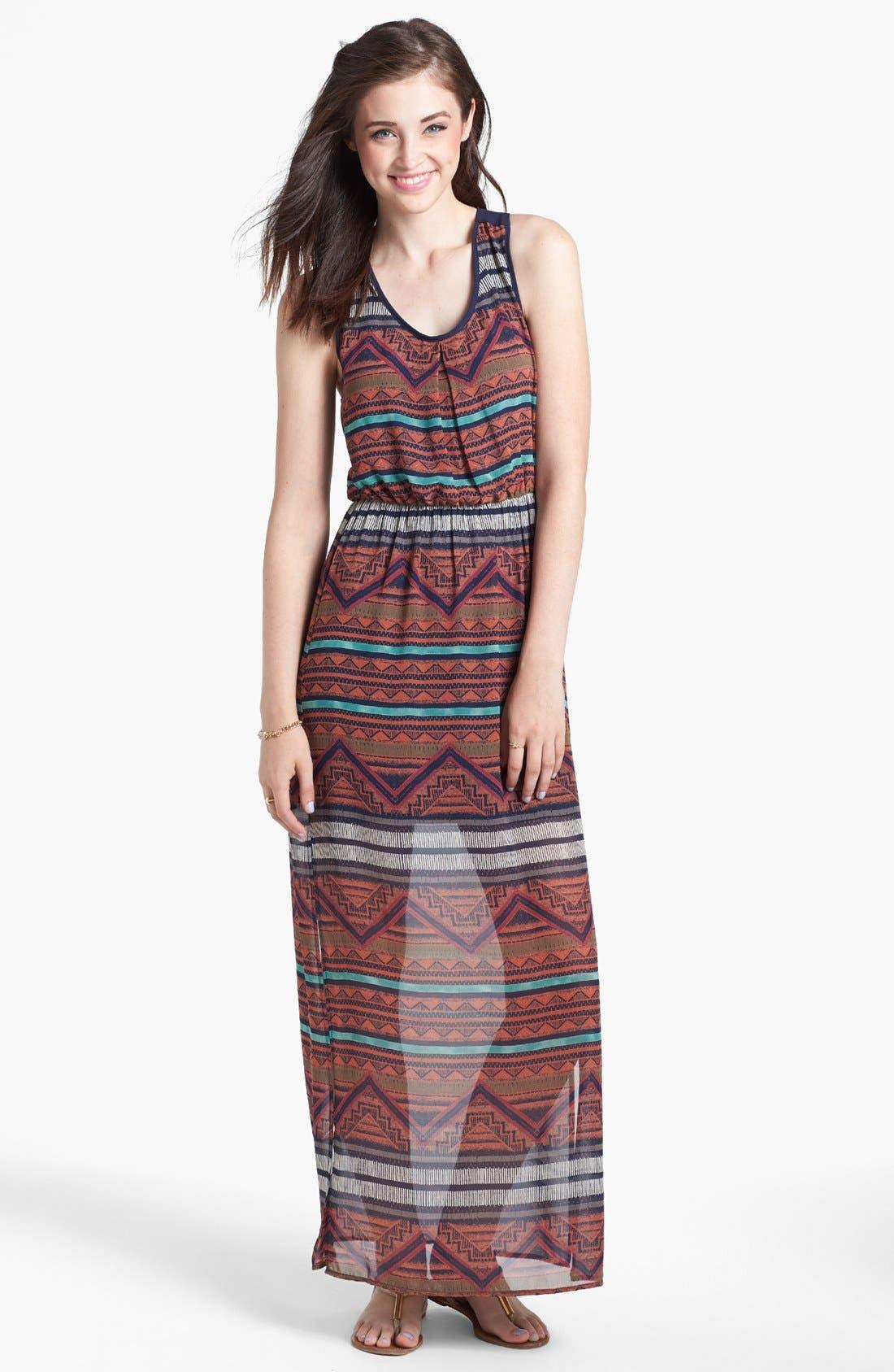 Main Image - dee elle Cutout Print Racerback Maxi Dress (Juniors)