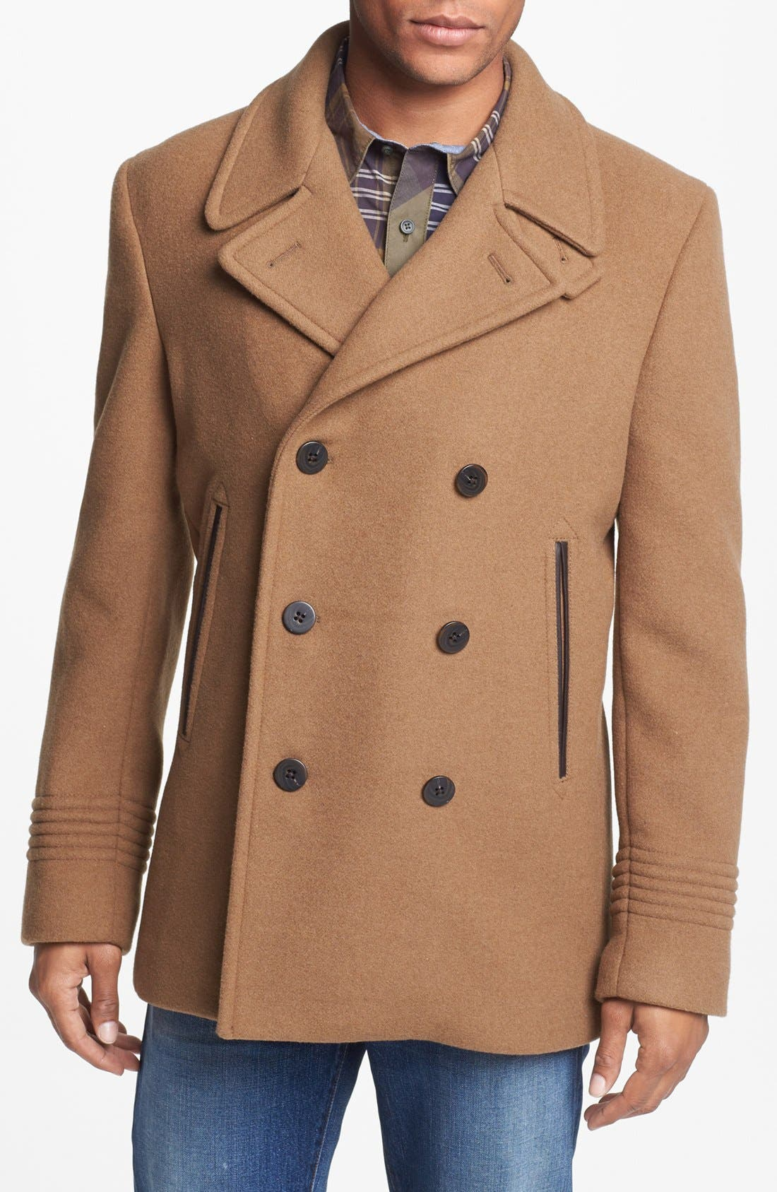Main Image - MARC BY MARC JACOBS 'Rushmore' Double Breasted Wool Blend Peacoat