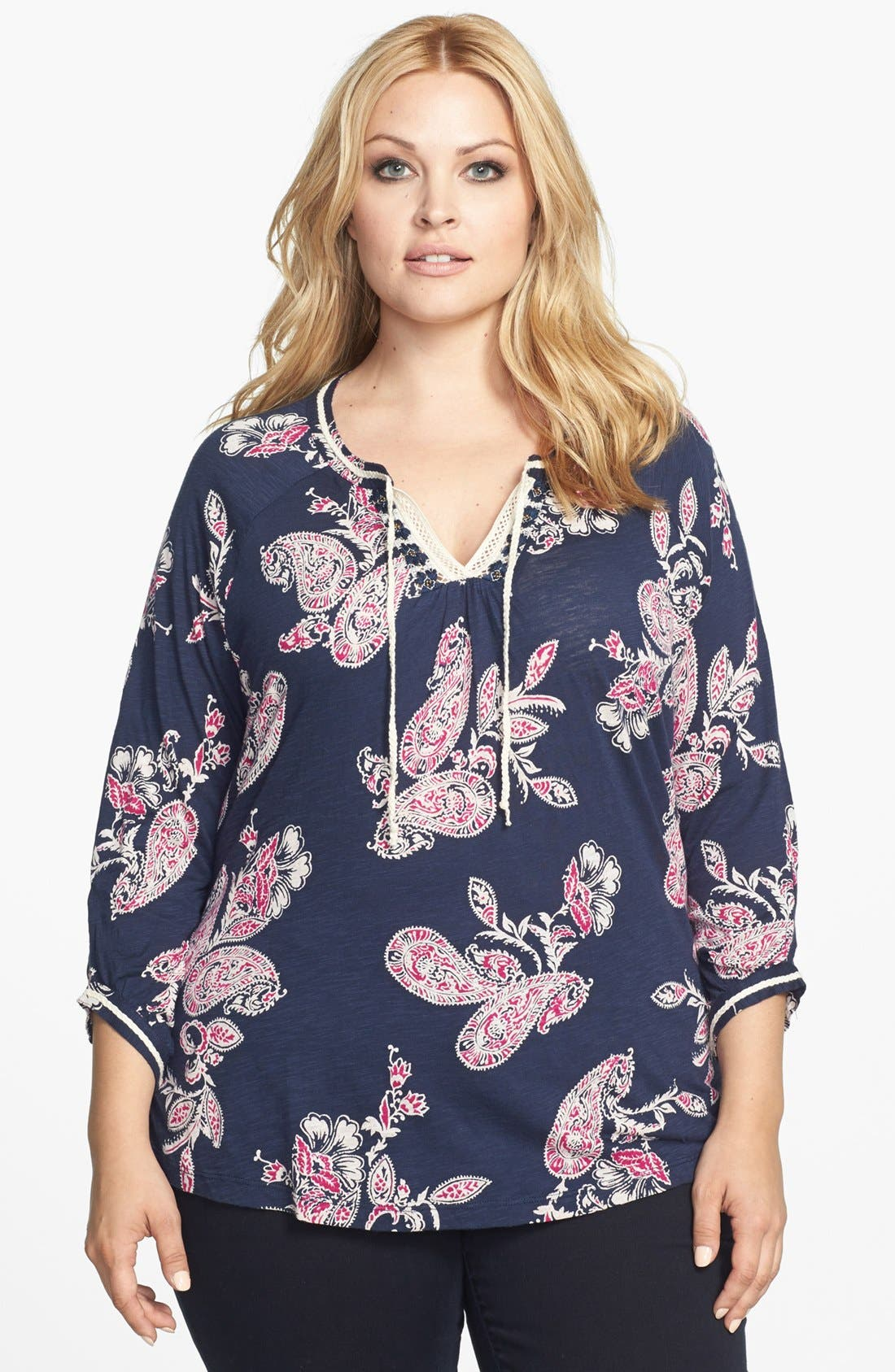 Alternate Image 1 Selected - Lucky Brand 'Taryn' Paisley Print Top (Plus Size)