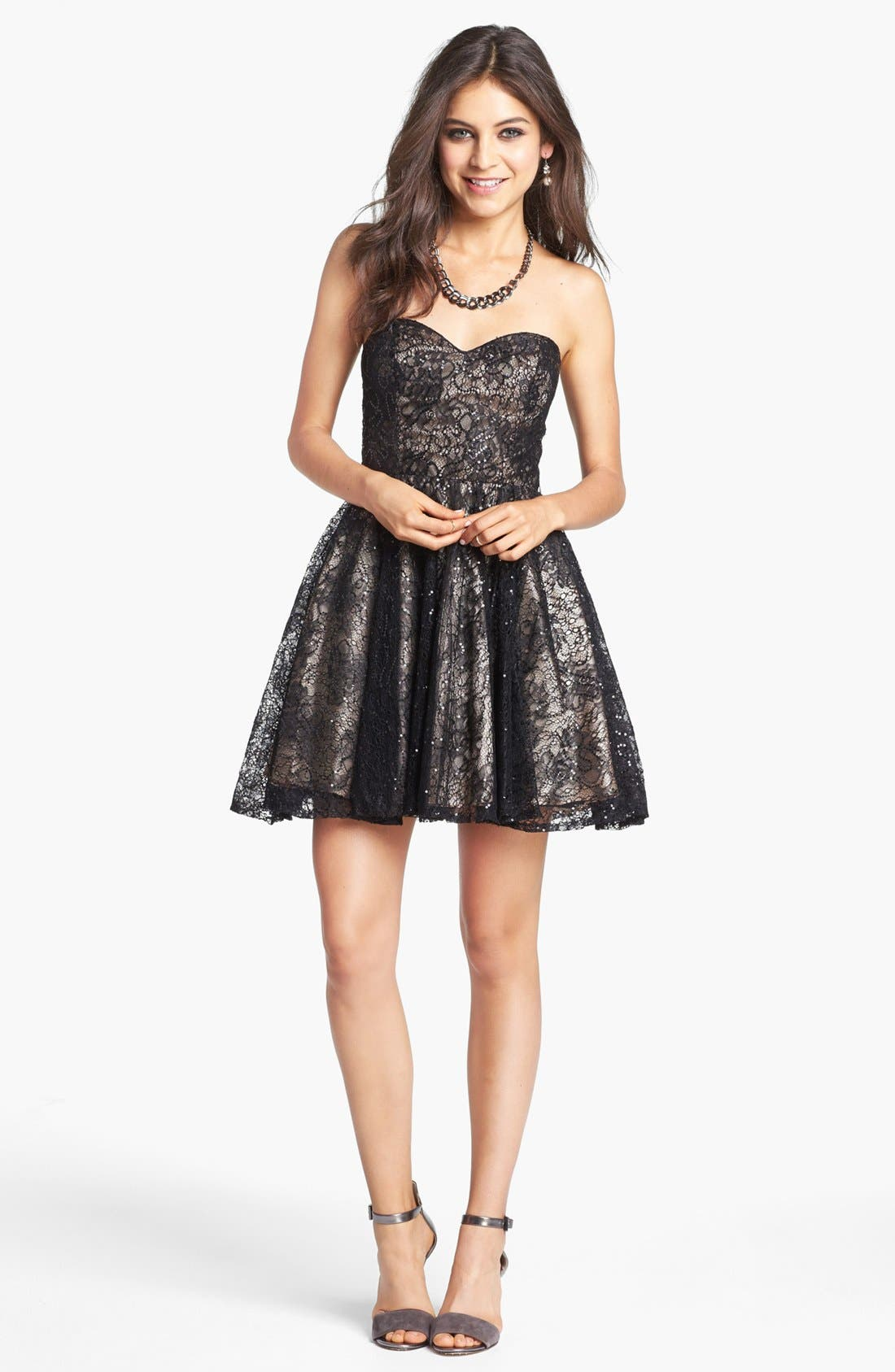 Alternate Image 1 Selected - Sean Collection Embellished Lace Strapless Fit & Flare Dress