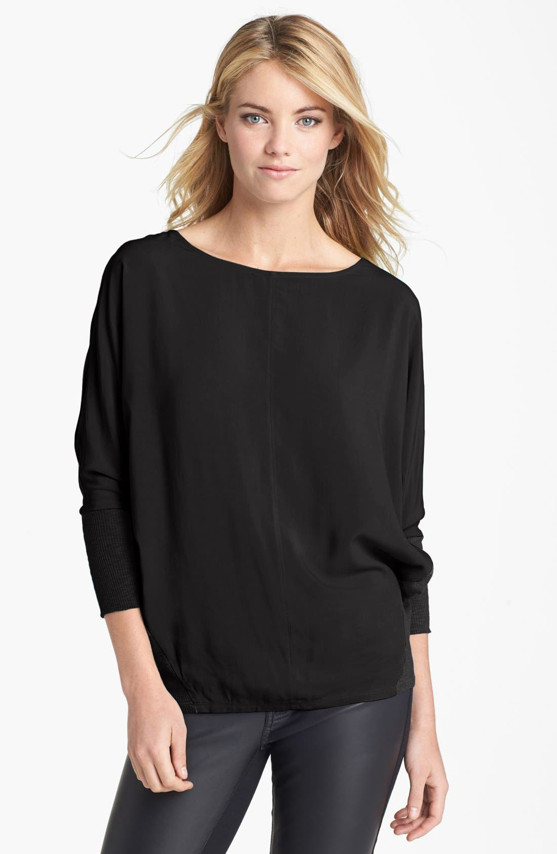 Main Image - Two by Vince Camuto Dolman Sleeve Mixed Media Tee