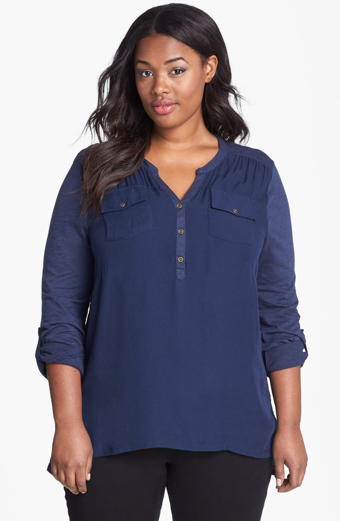 Main Image - Lucky Brand Woven Front Jersey Top (Plus Size)