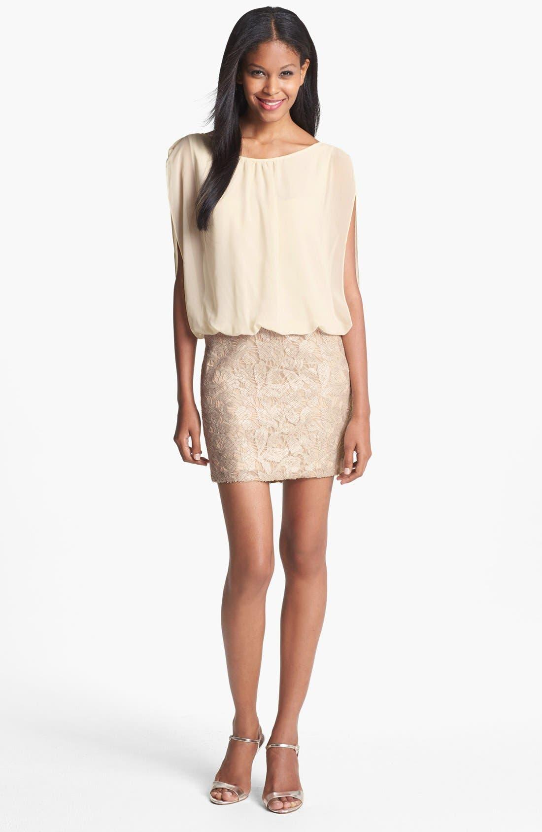 Main Image - Aidan Mattox Embellished Blouson Dress (Online Only)