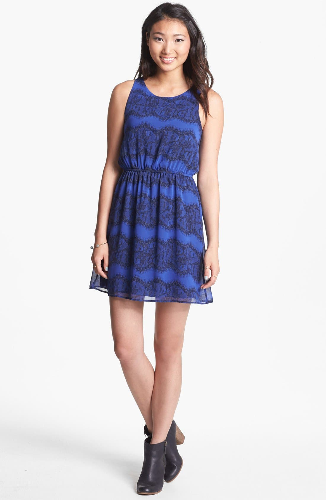 Alternate Image 1 Selected - dee elle Print Zip Back Skater Dress (Juniors)