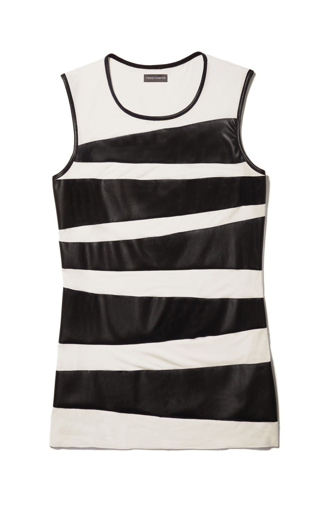 Alternate Image 6  - Vince Camuto Faux Leather Zigzag Tank (Regular & Petite)