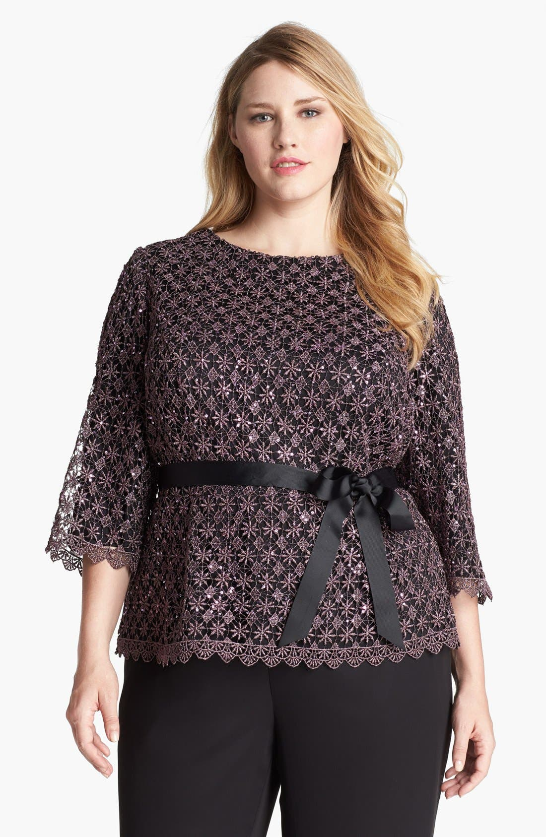 Alternate Image 1 Selected - Alex Evenings Metallic Lace Blouse (Plus Size)