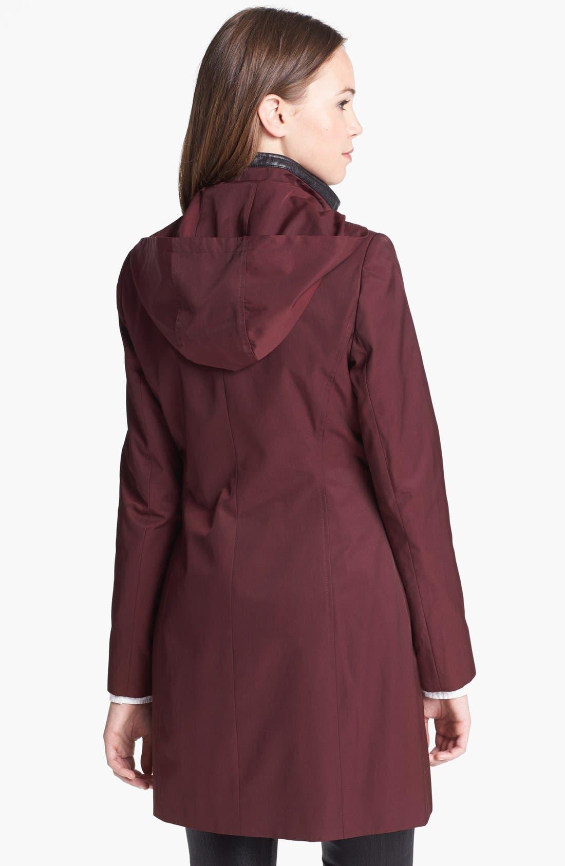 Alternate Image 2  - Via Spiga Asymmetrical Faux Leather Trim Raincoat (Online Only)