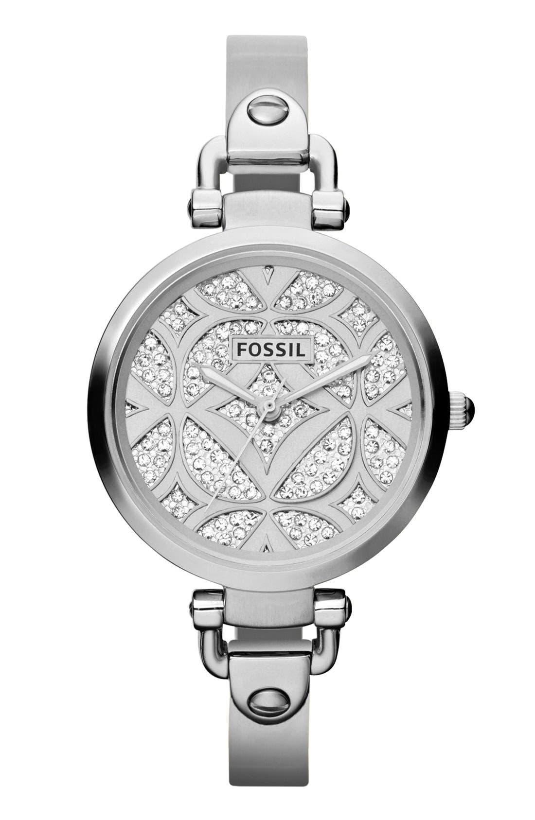 Alternate Image 1 Selected - Fossil 'Georgia' Pavé Dial Bangle Watch, 32mm