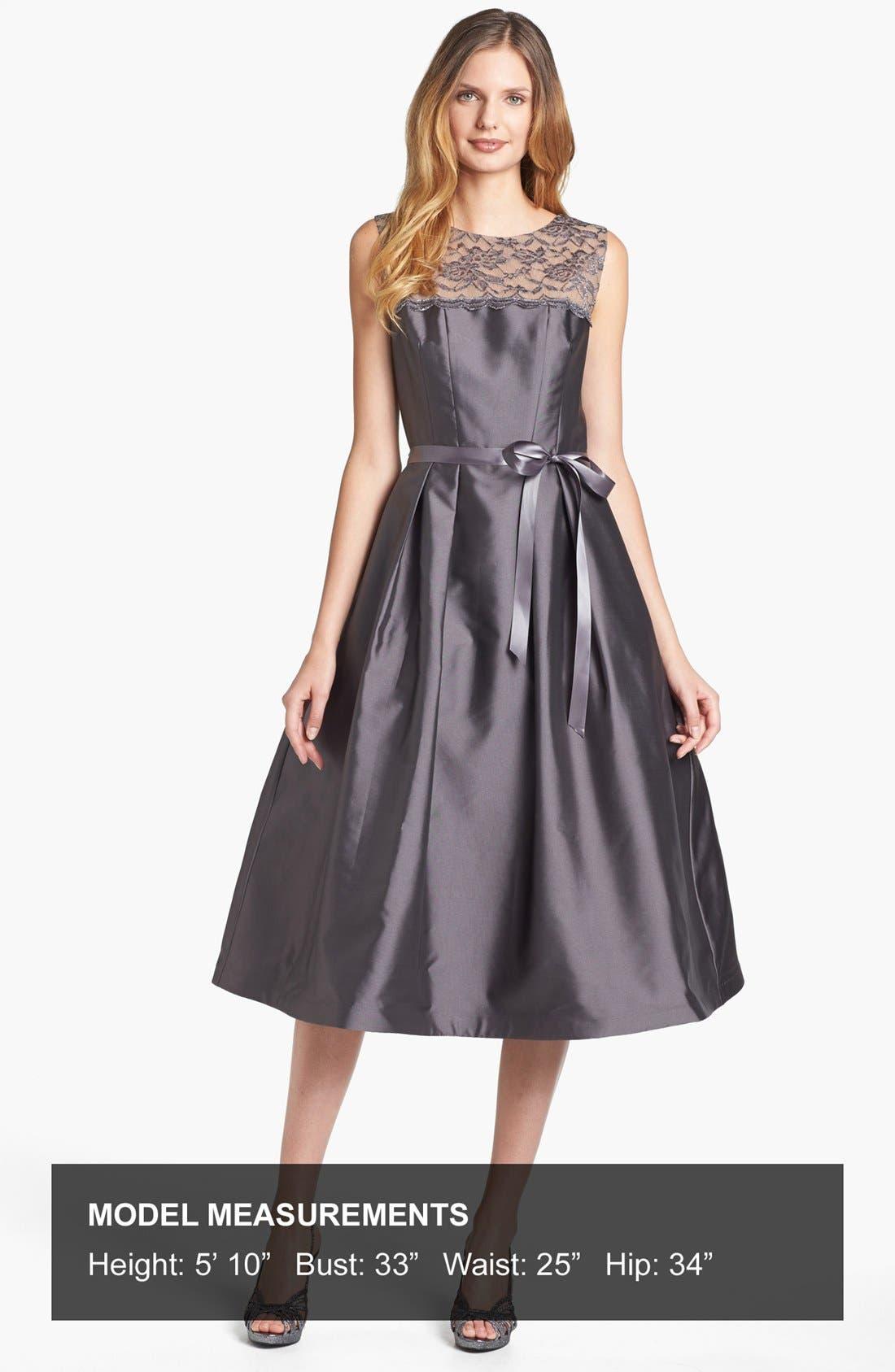 Alternate Image 4  - Alex Evenings Illusion Yoke Satin Fit & Flare Dress