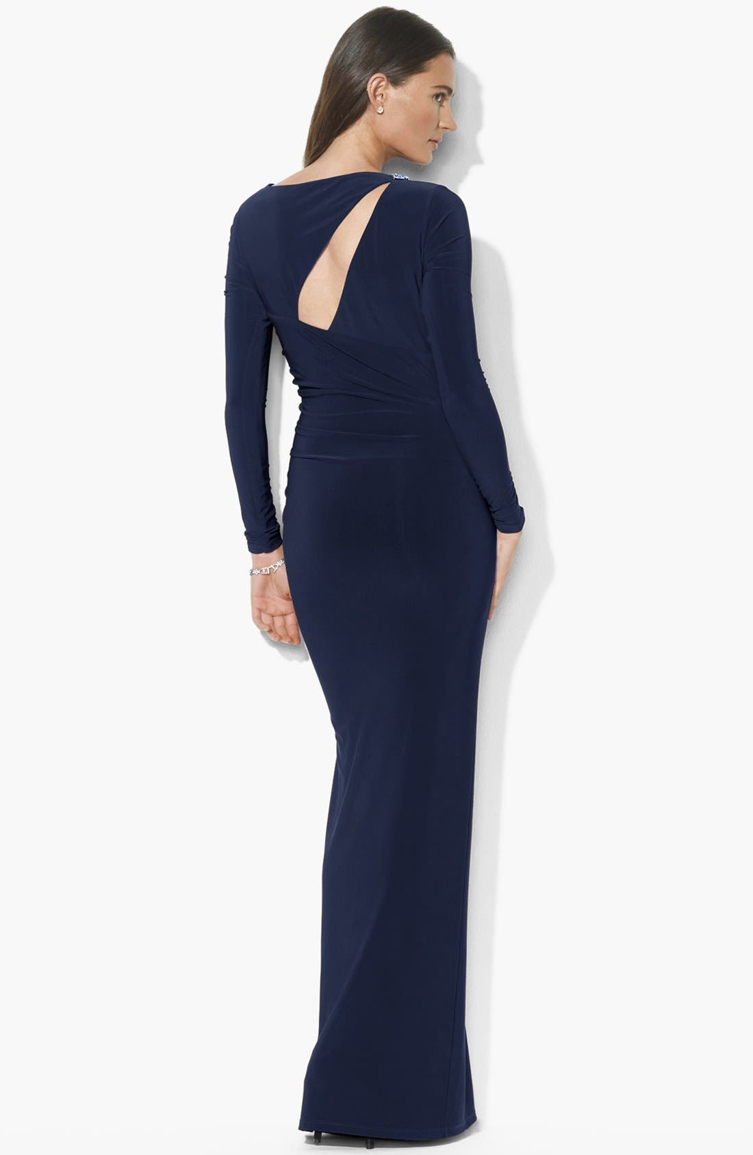 Alternate Image 2  - Lauren Ralph Lauren Cutout Jersey Gown