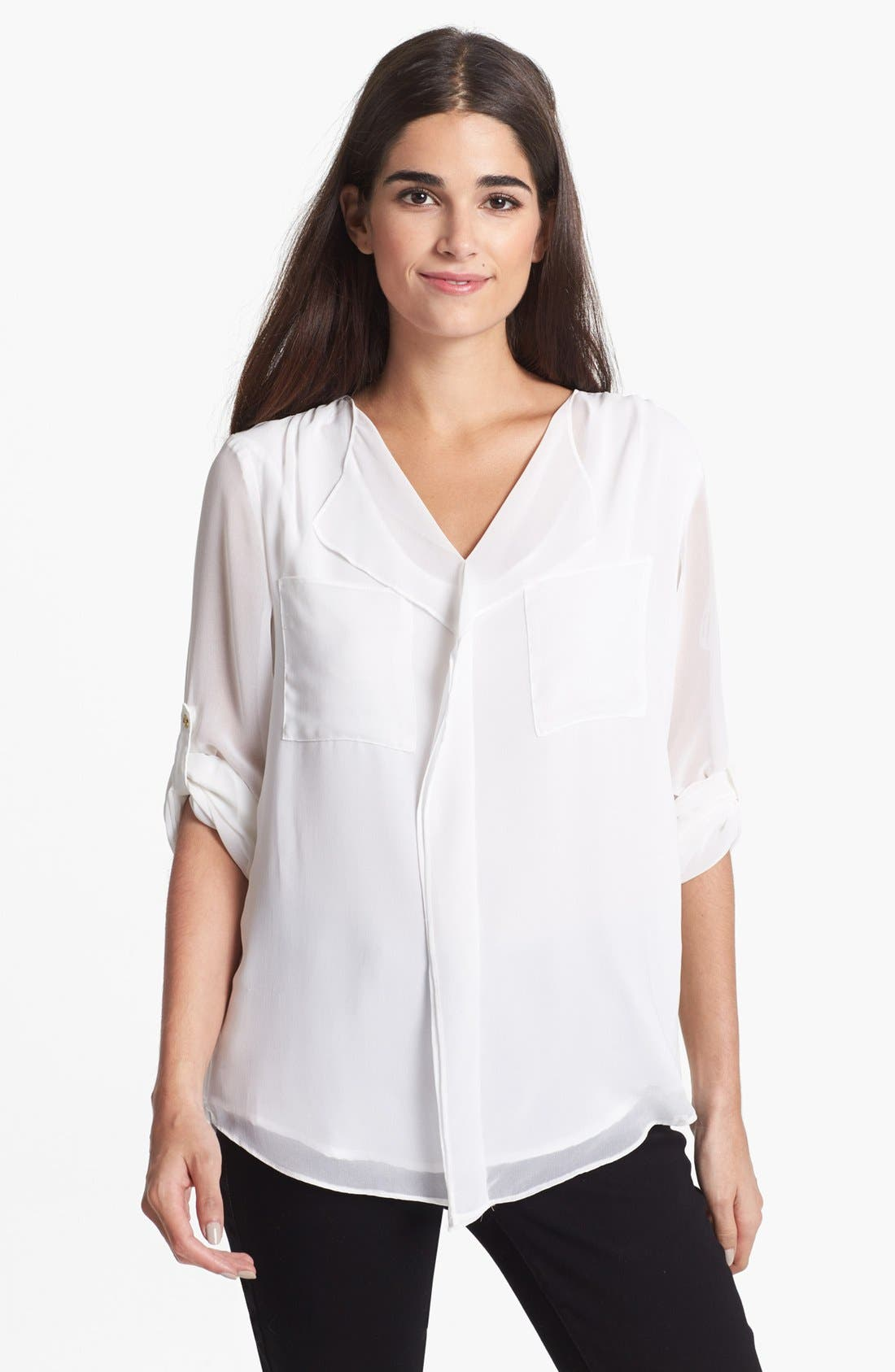 Alternate Image 1 Selected - Calvin Klein Ruffle Front Chiffon Blouse