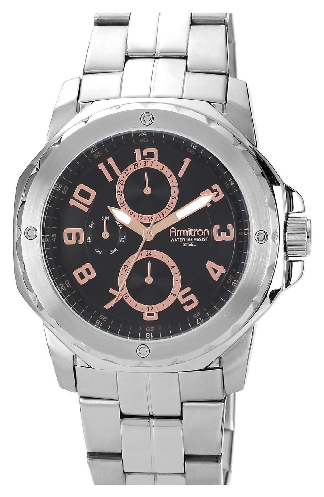 Alternate Image 1 Selected - Armitron Round Multifunction Bracelet Watch, 44mm