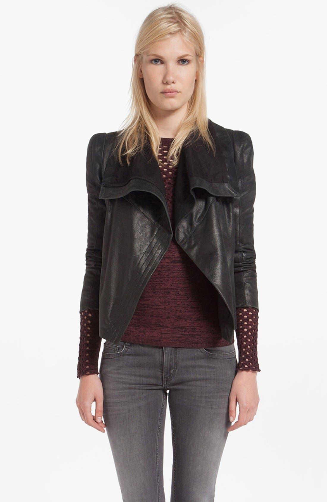 Main Image - maje 'Debbie' Leather Jacket
