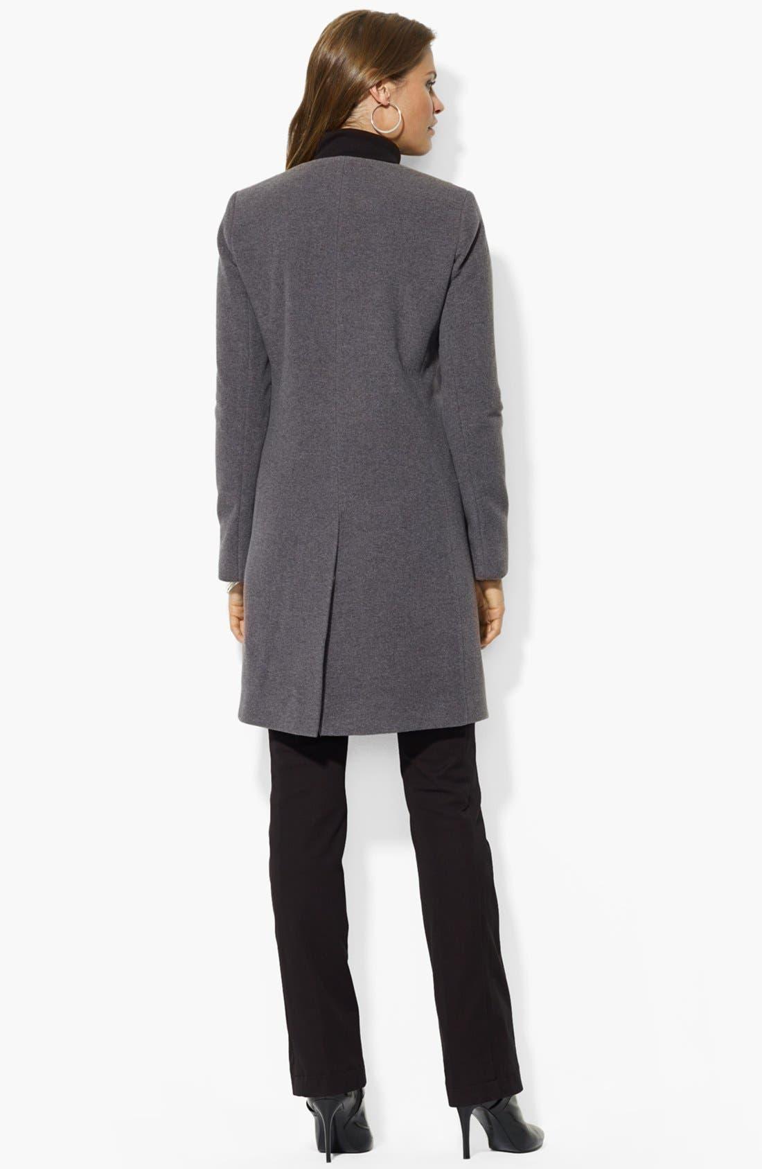 Alternate Image 2  - Lauren Ralph Lauren Collarless Wool Blend Coat (Online Only)