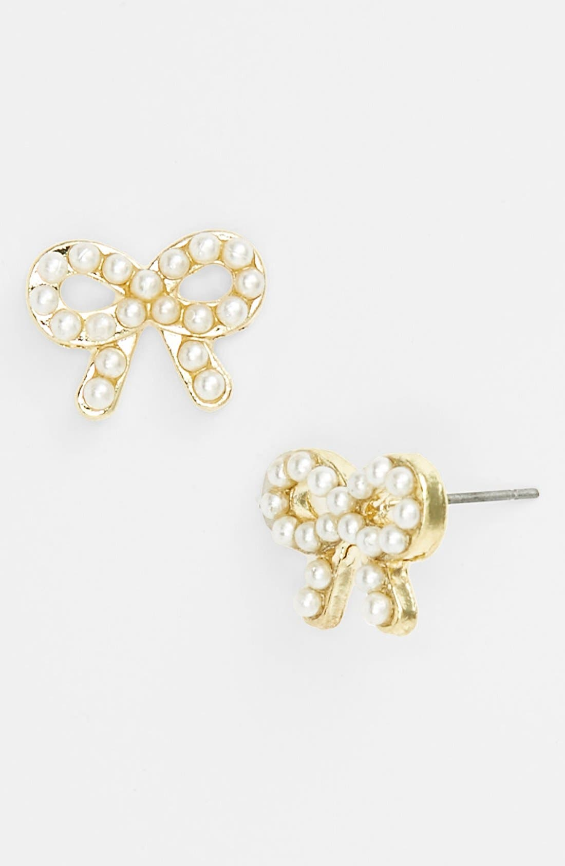 Alternate Image 1 Selected - Carole Beaded Bow Stud Earrings (Juniors) (Online Only)