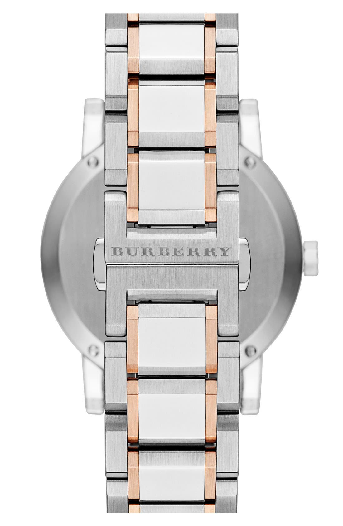 Alternate Image 2  - Burberry Large Check Stamped Bracelet Watch, 38mm