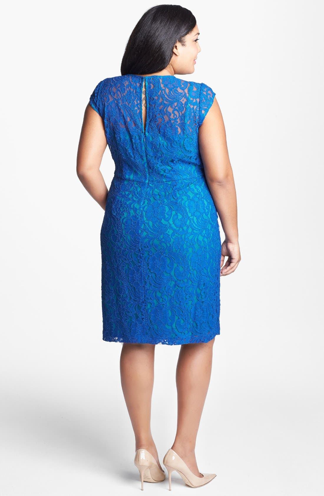 Alternate Image 2  - Ivy & Blu Lace Fit & Flare Dress (Plus Size)