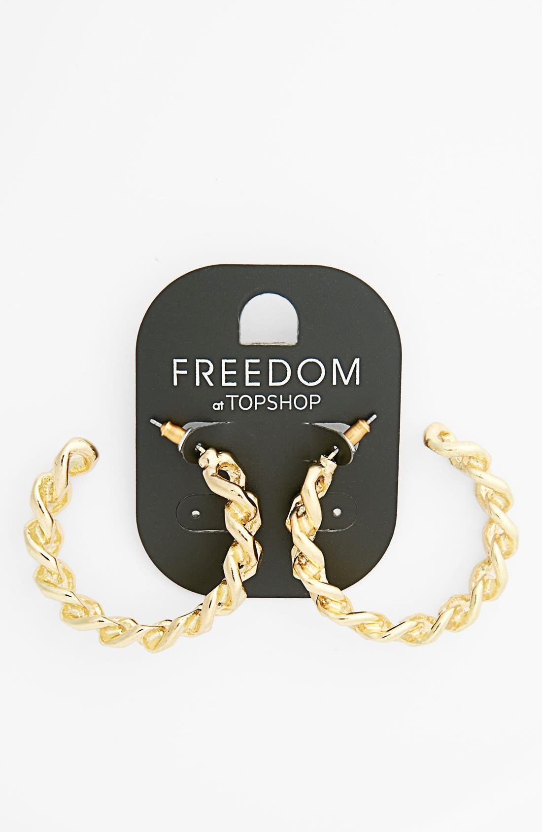 Main Image - Topshop Curb Chain Mini Hoop Earrings