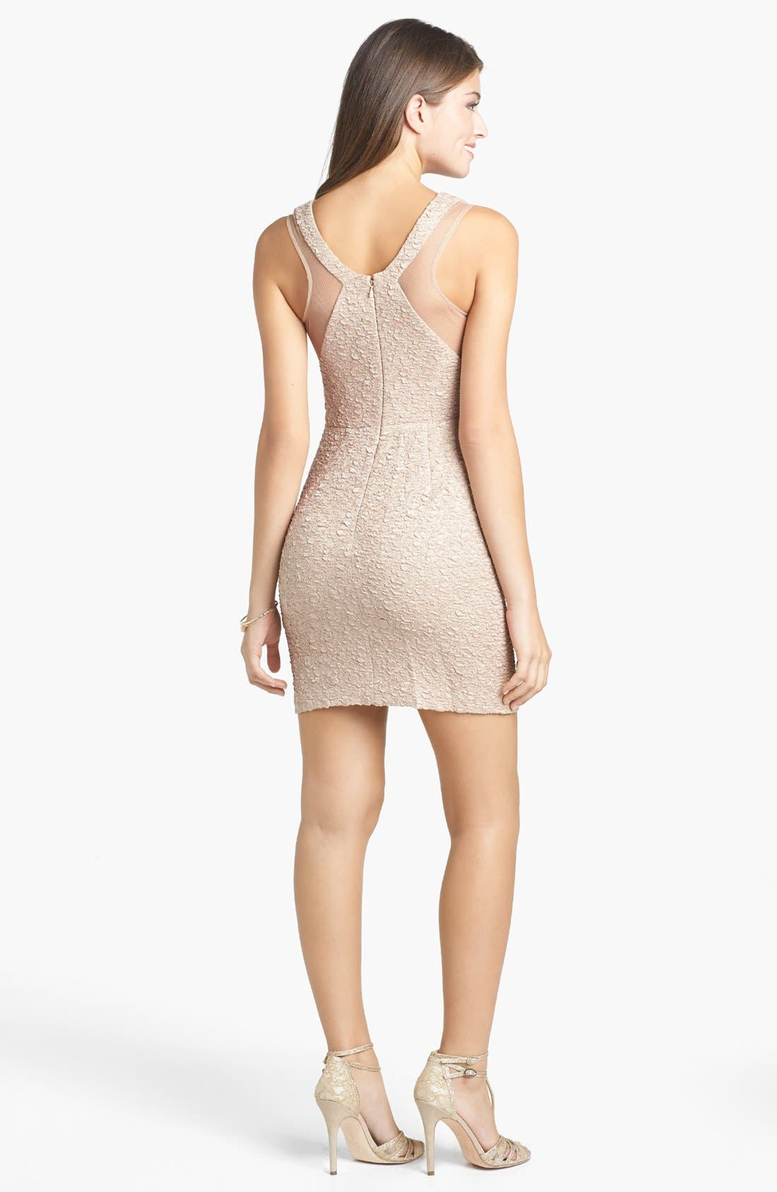 Alternate Image 2  - Hailey Logan Illusion Panel Textured Body-Con Dress (Juniors)
