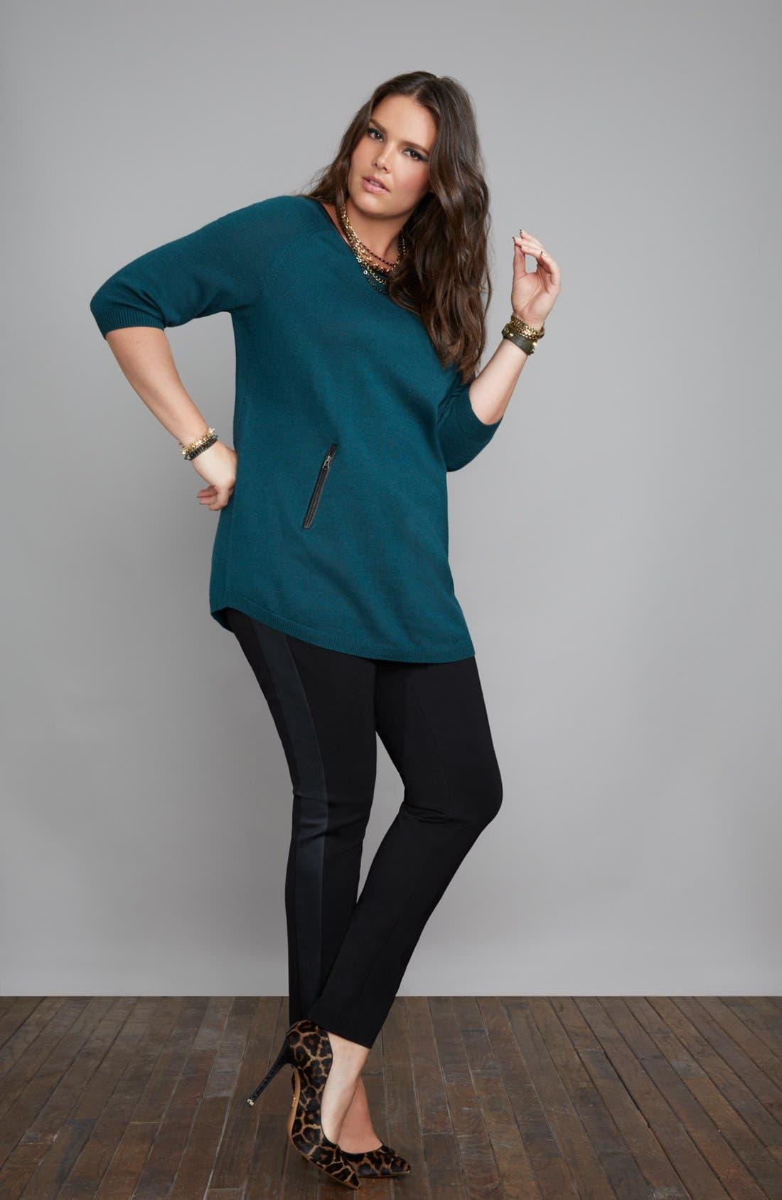 Alternate Image 4  - Sejour Faux Leather & Ponte Knit Pants (Plus Size)