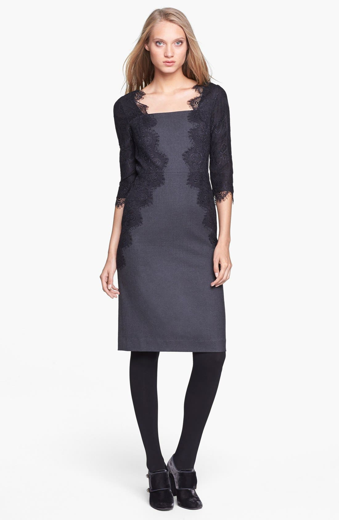 Alternate Image 1 Selected - Tory Burch 'Laney' Lace & Stretch Wool Sheath Dress