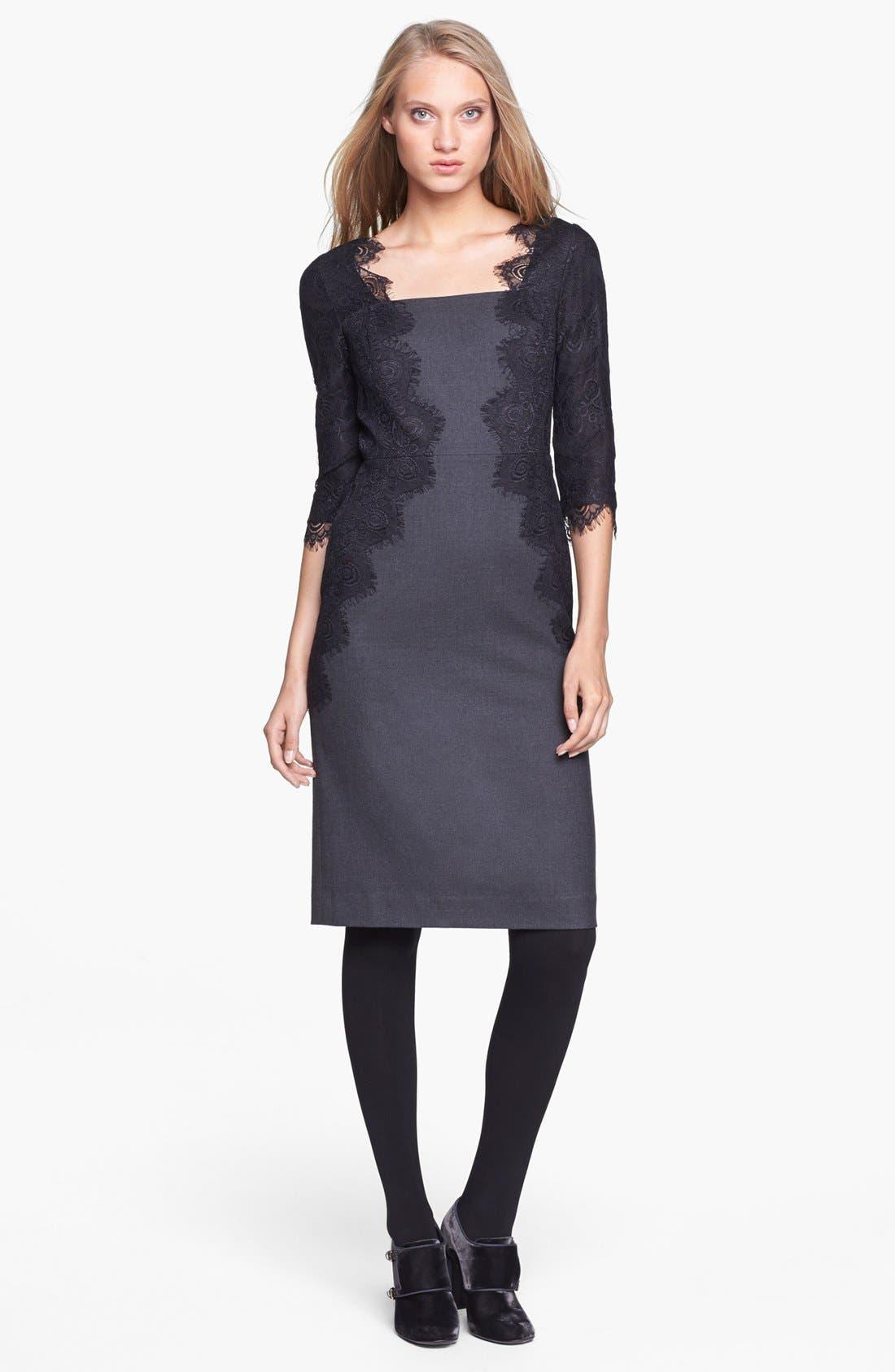 Main Image - Tory Burch 'Laney' Lace & Stretch Wool Sheath Dress