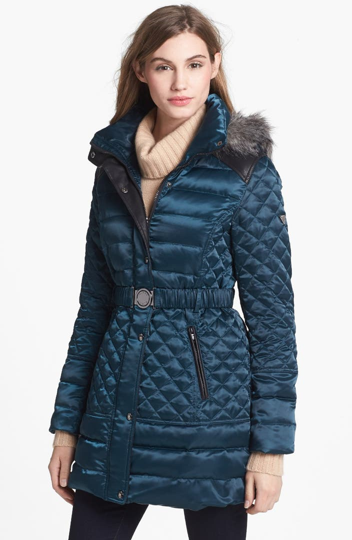 GUESS Faux Fur Trim Down & Feather Coat (Online Only ...