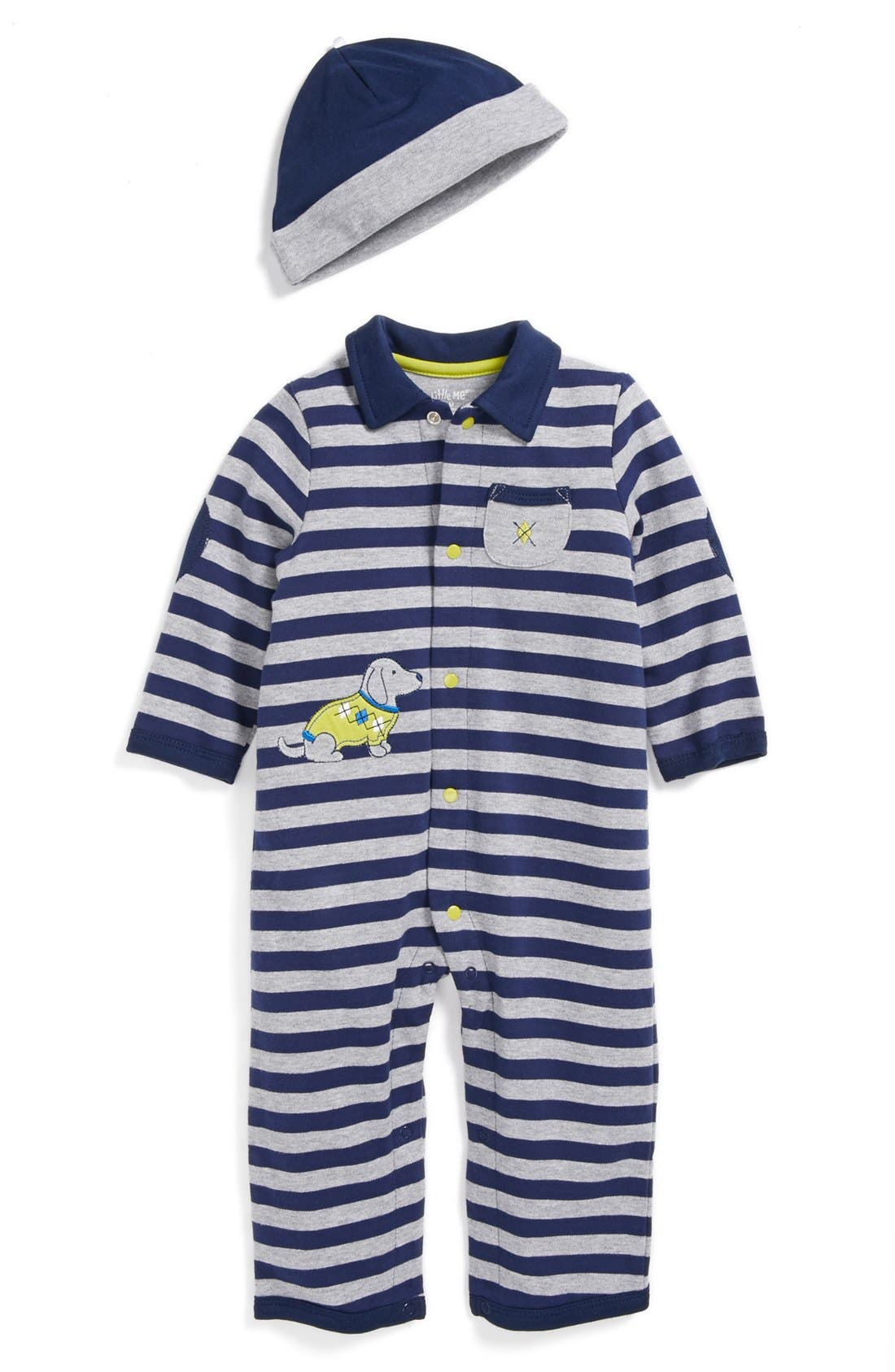 Alternate Image 1 Selected - Little Me Dachsund Romper & Hat (Baby Boys)