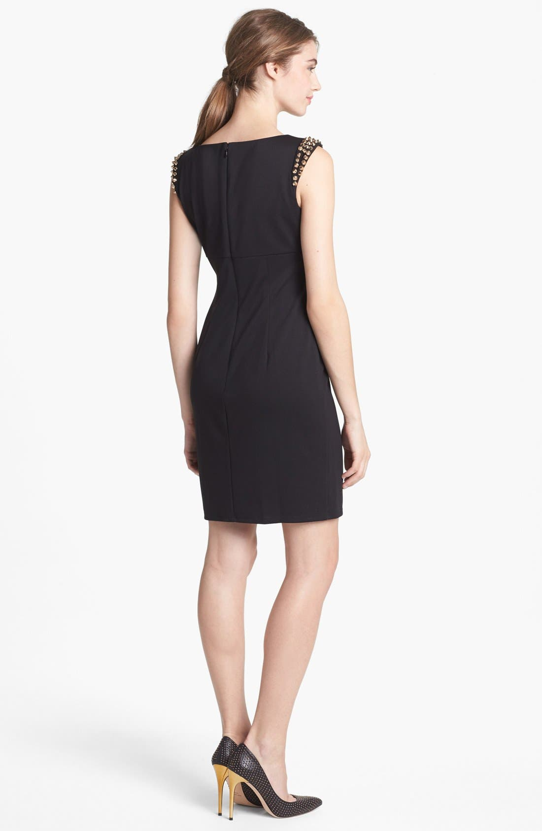 Alternate Image 2  - Vince Camuto Spiked Shoulder Ponte Knit Sheath Dress