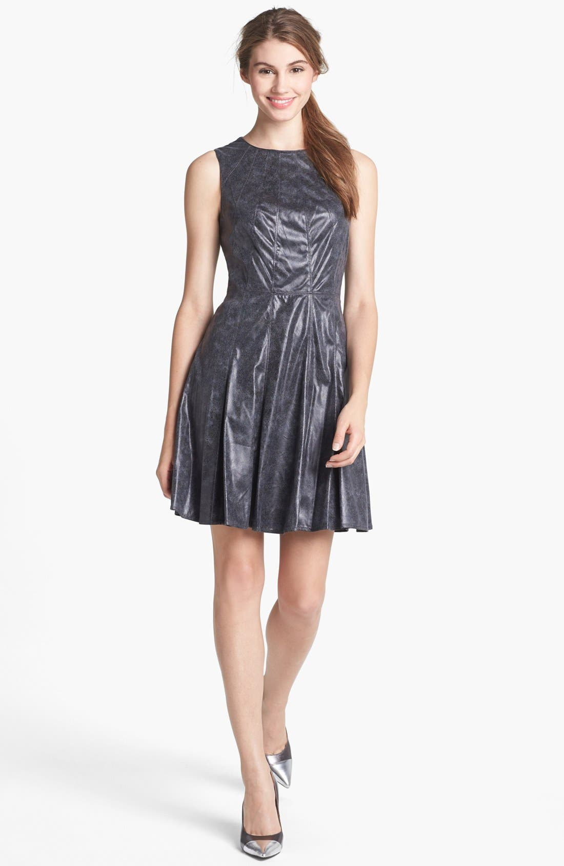 Alternate Image 1 Selected - Vince Camuto Faux Leather Fit & Flare Dress