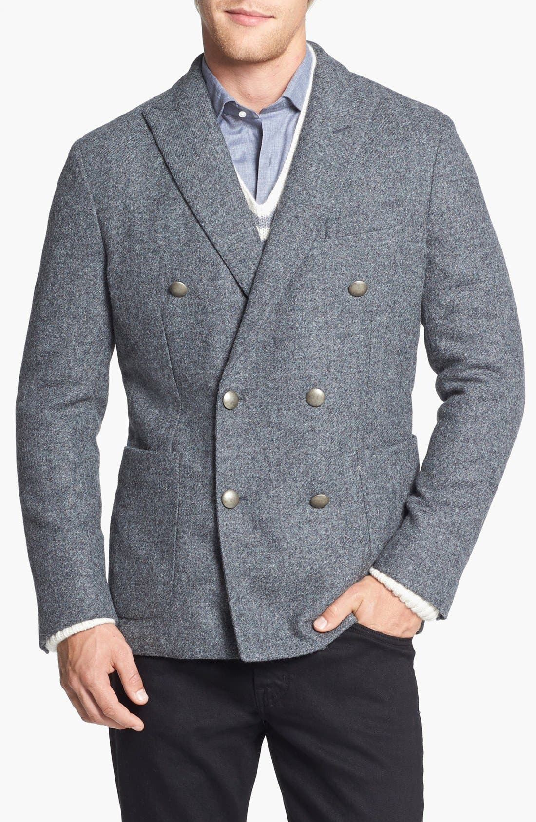 Main Image - Kent and Curwen 'Worthington' Double Breasted Shetland Wool Sportcoat