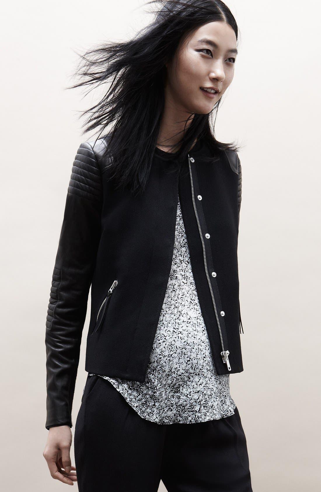 Alternate Image 5  - Rebecca Taylor Twill & Leather Moto Jacket