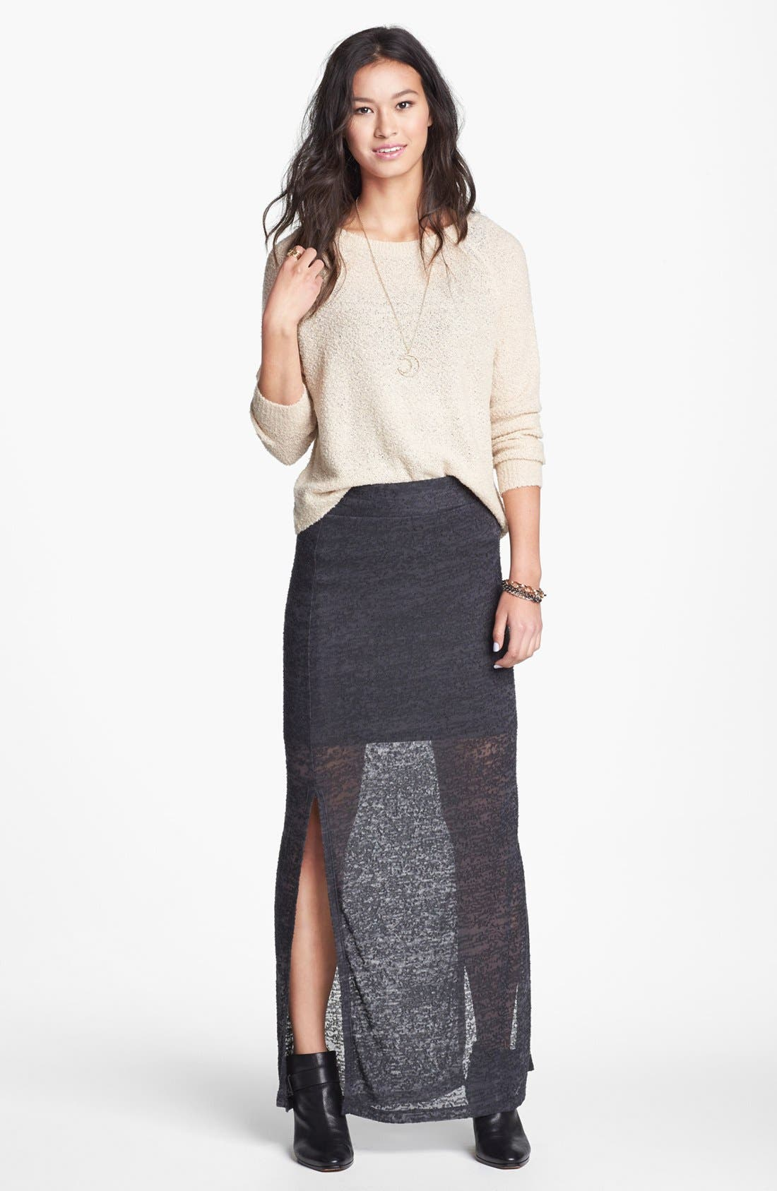 Alternate Image 1 Selected - Lily White Burnout Side Slit Maxi Skirt (Juniors)