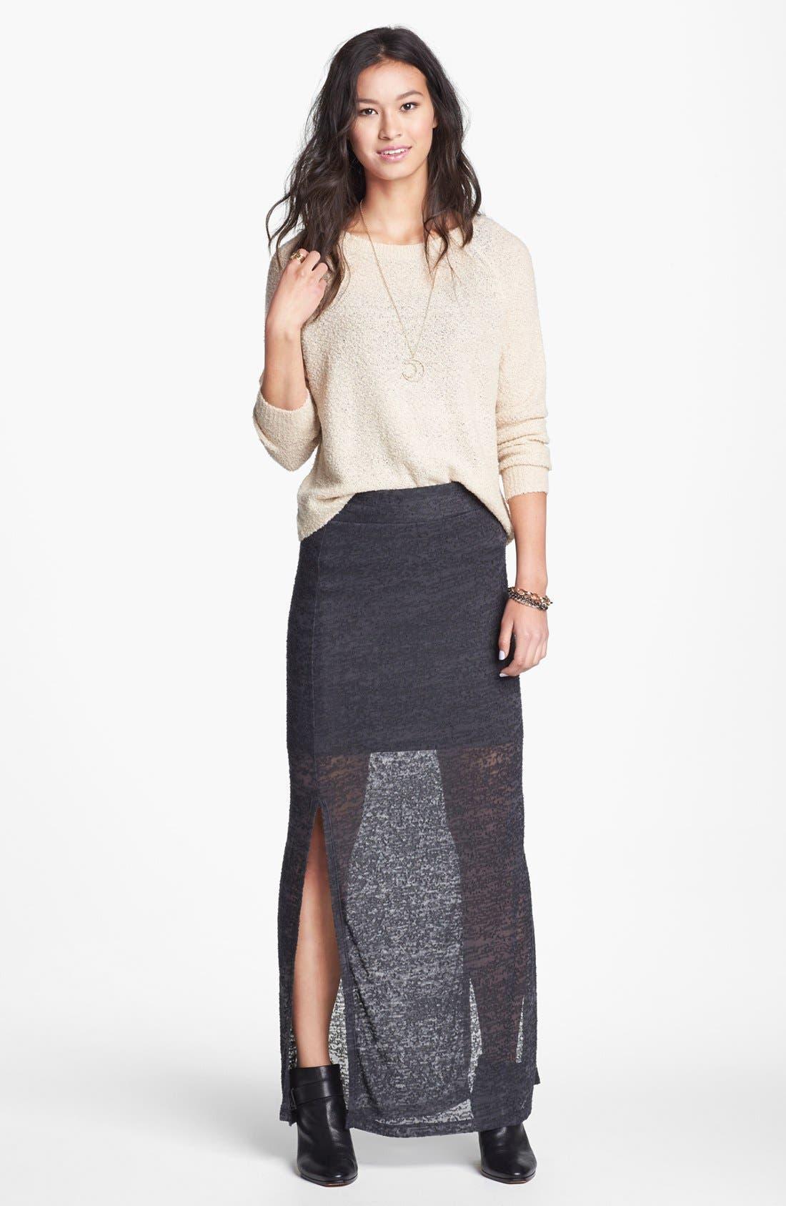 Main Image - Lily White Burnout Side Slit Maxi Skirt (Juniors)