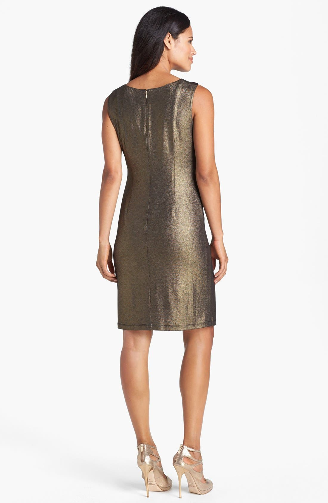 Alternate Image 2  - Ellen Tracy Side Knot Metallic Jersey Sheath Dress