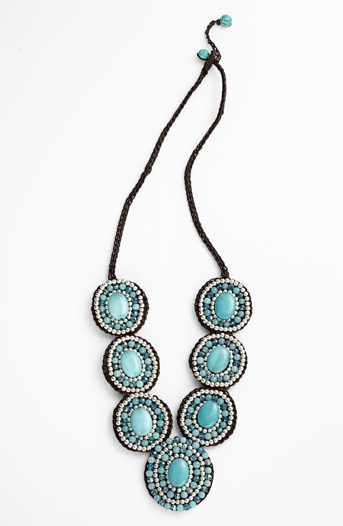 Main Image - Panacea Green Circle Rope Necklace