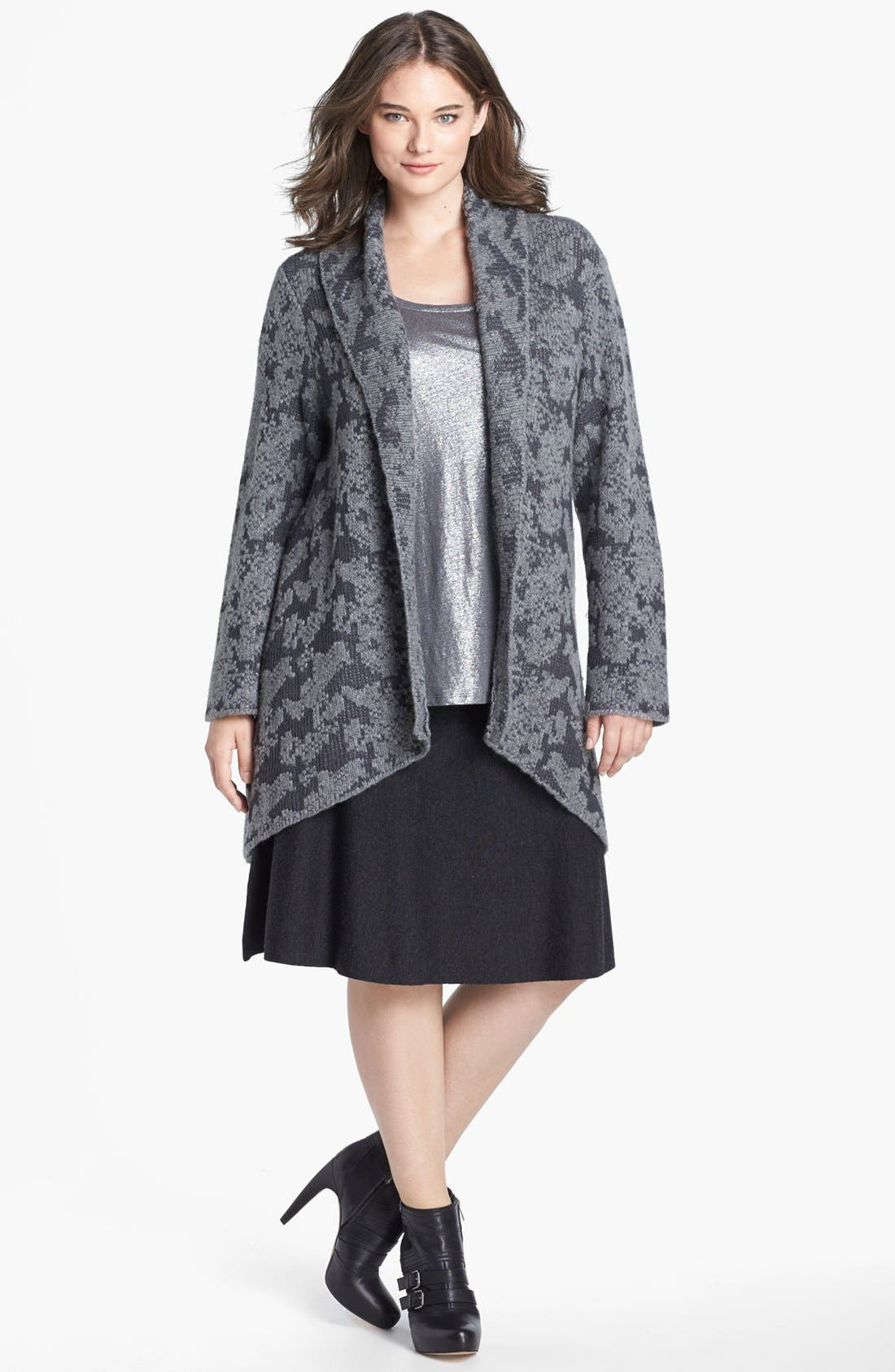Alternate Image 1 Selected - Eileen Fisher Shawl Collar Cardigan (Plus Size)
