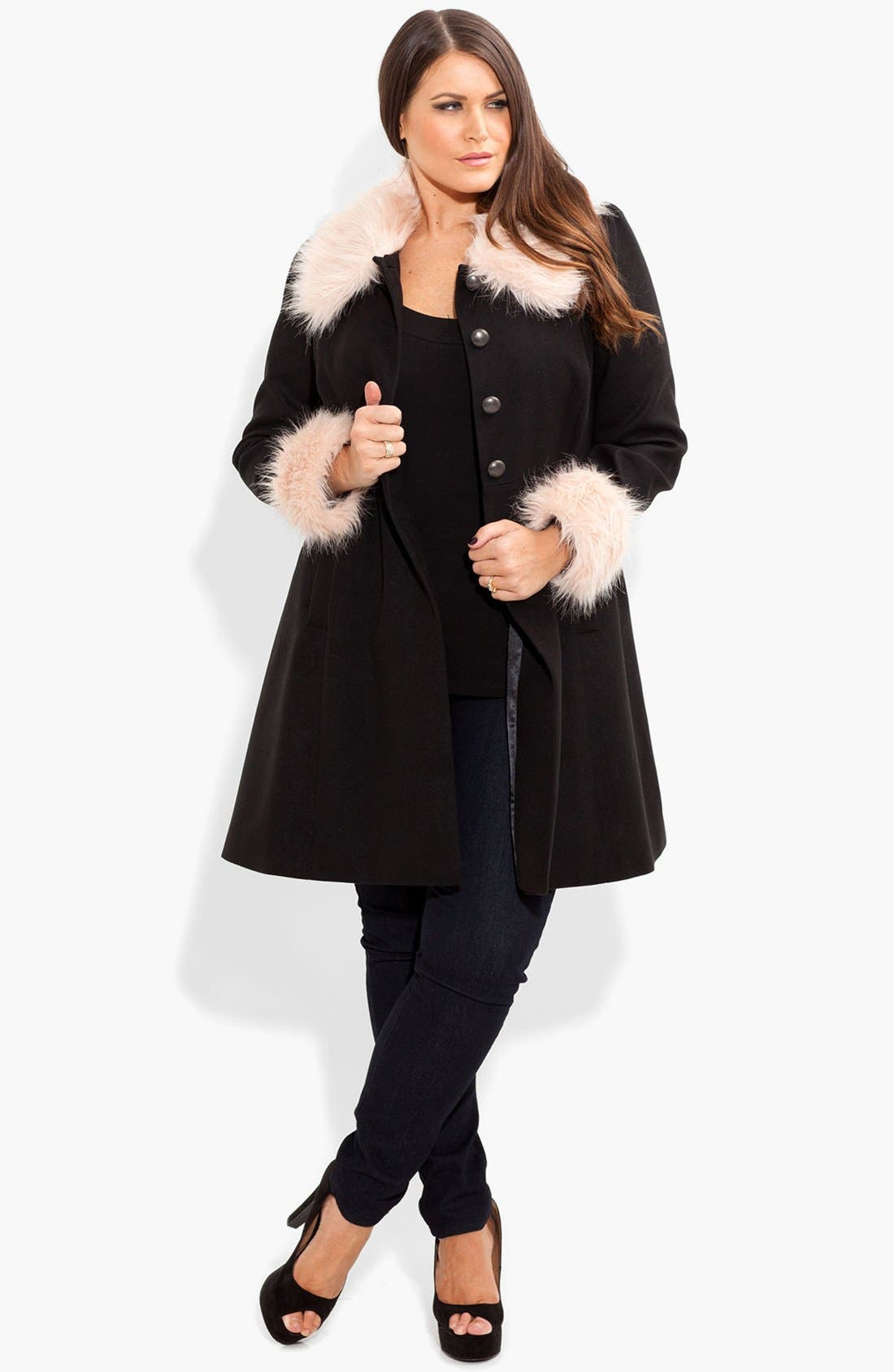 Alternate Image 4  - City Chic 'Princess' Faux Fur Trim Fit & Flare Coat