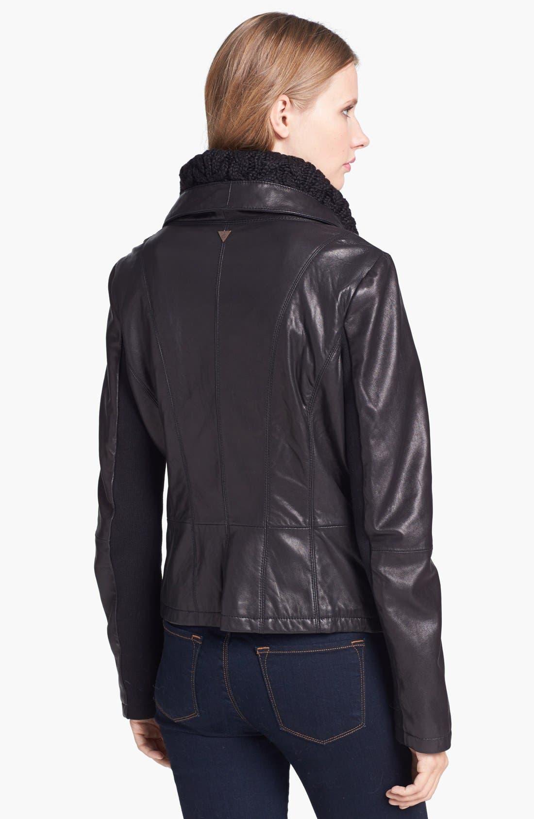 Alternate Image 2  - Sam Edelman Knit Collar Leather Jacket