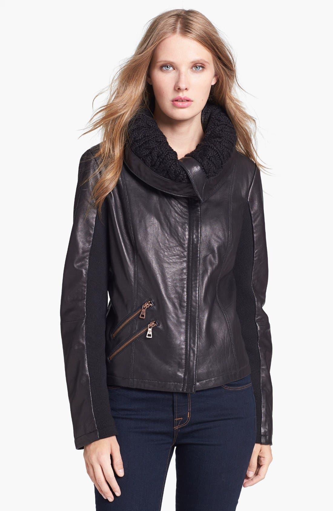 Alternate Image 1  - Sam Edelman Knit Collar Leather Jacket