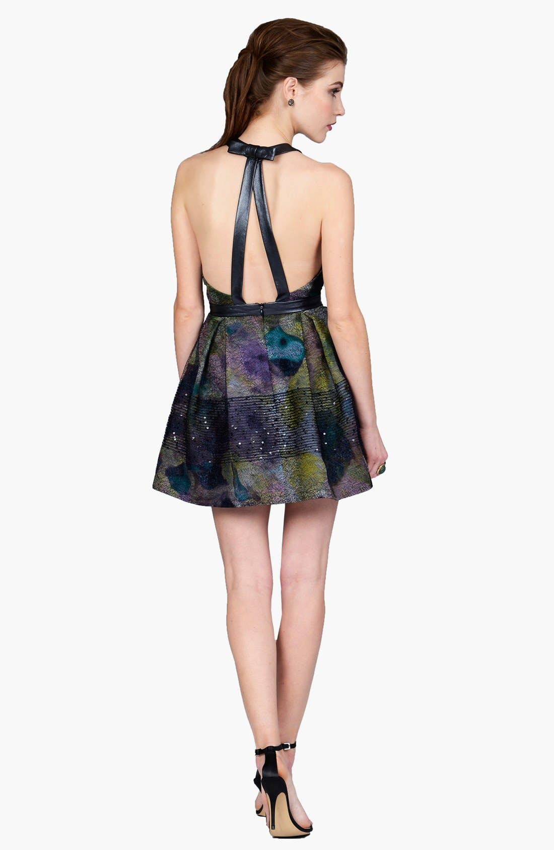 Alternate Image 2  - Phoebe by Kay Unger Faux Leather Trim Print Fit & Flare Dress
