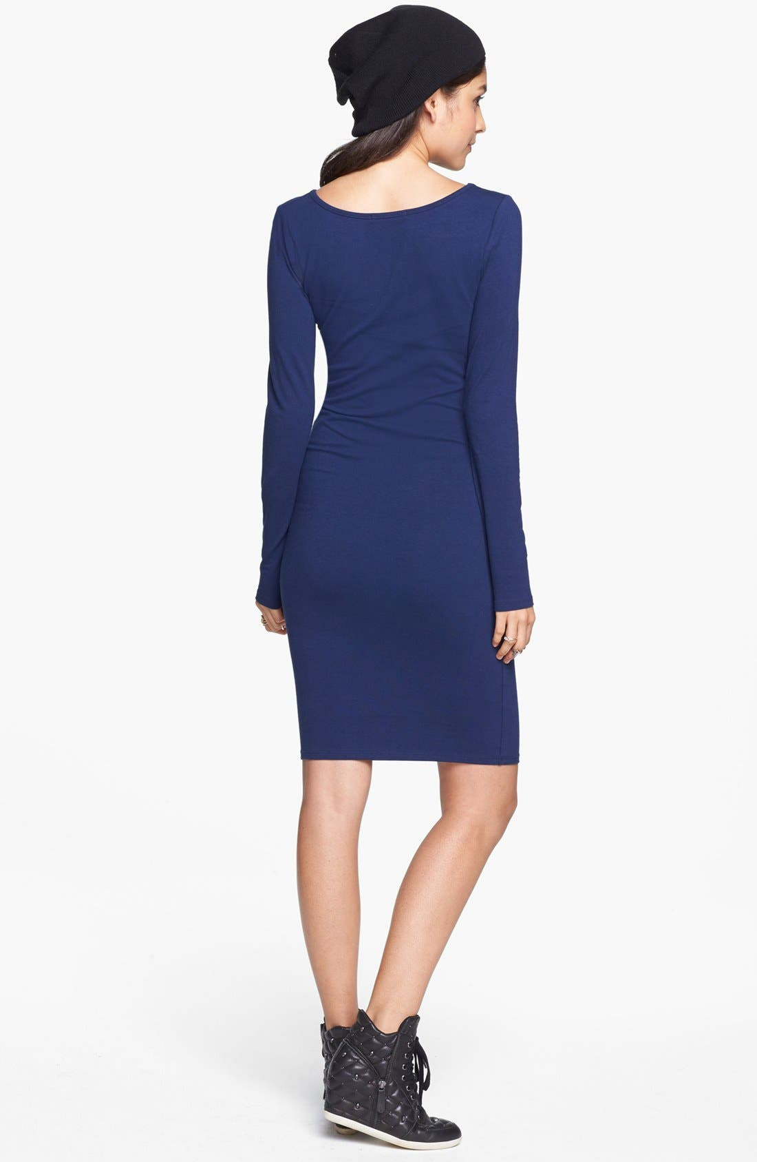 Alternate Image 2  - Socialite Long Sleeve Body-Con Dress (Juniors) (Online Only)