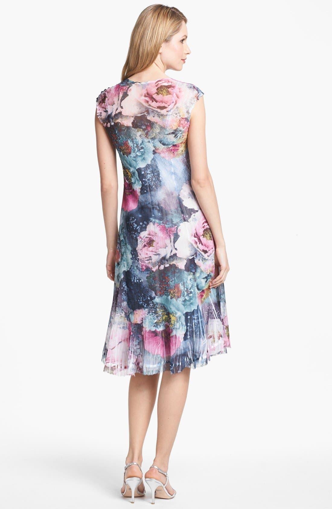 Alternate Image 2  - Komarov Scoop Neck Print Chiffon Dress (Petite)