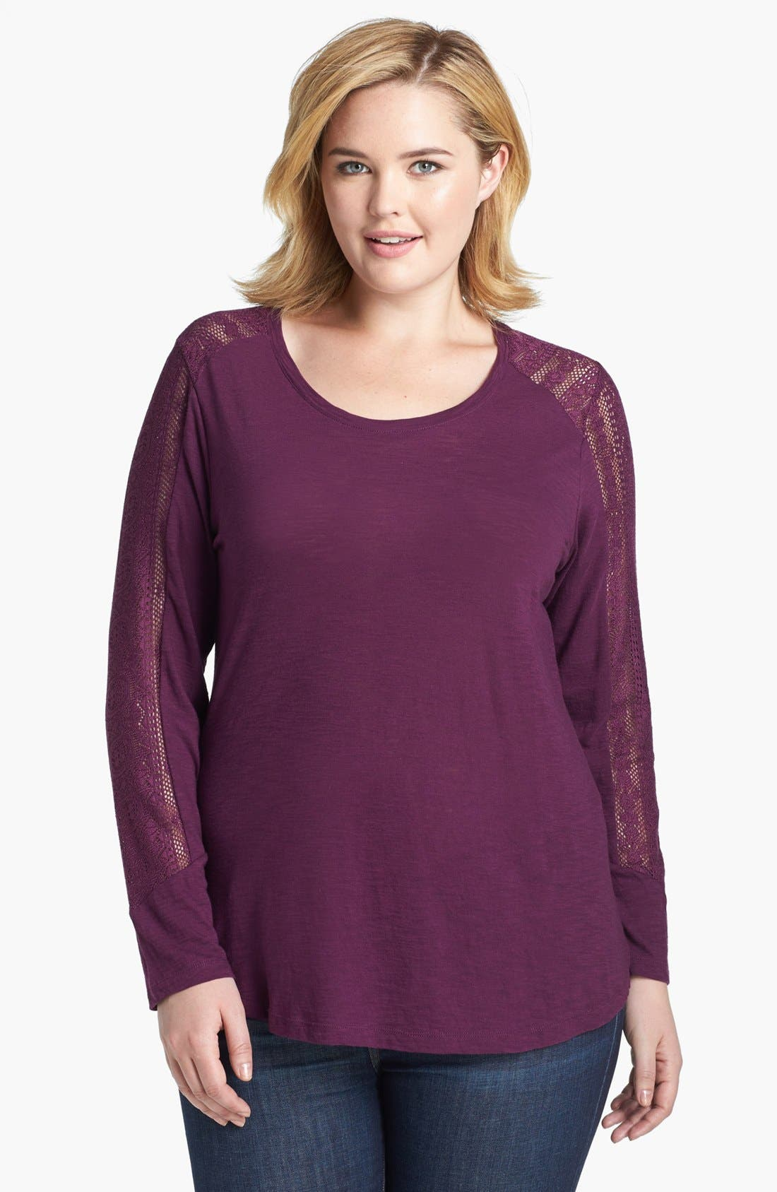 Alternate Image 1 Selected - Lucky Brand 'Bobbi' Lace Inset Top (Plus Size)