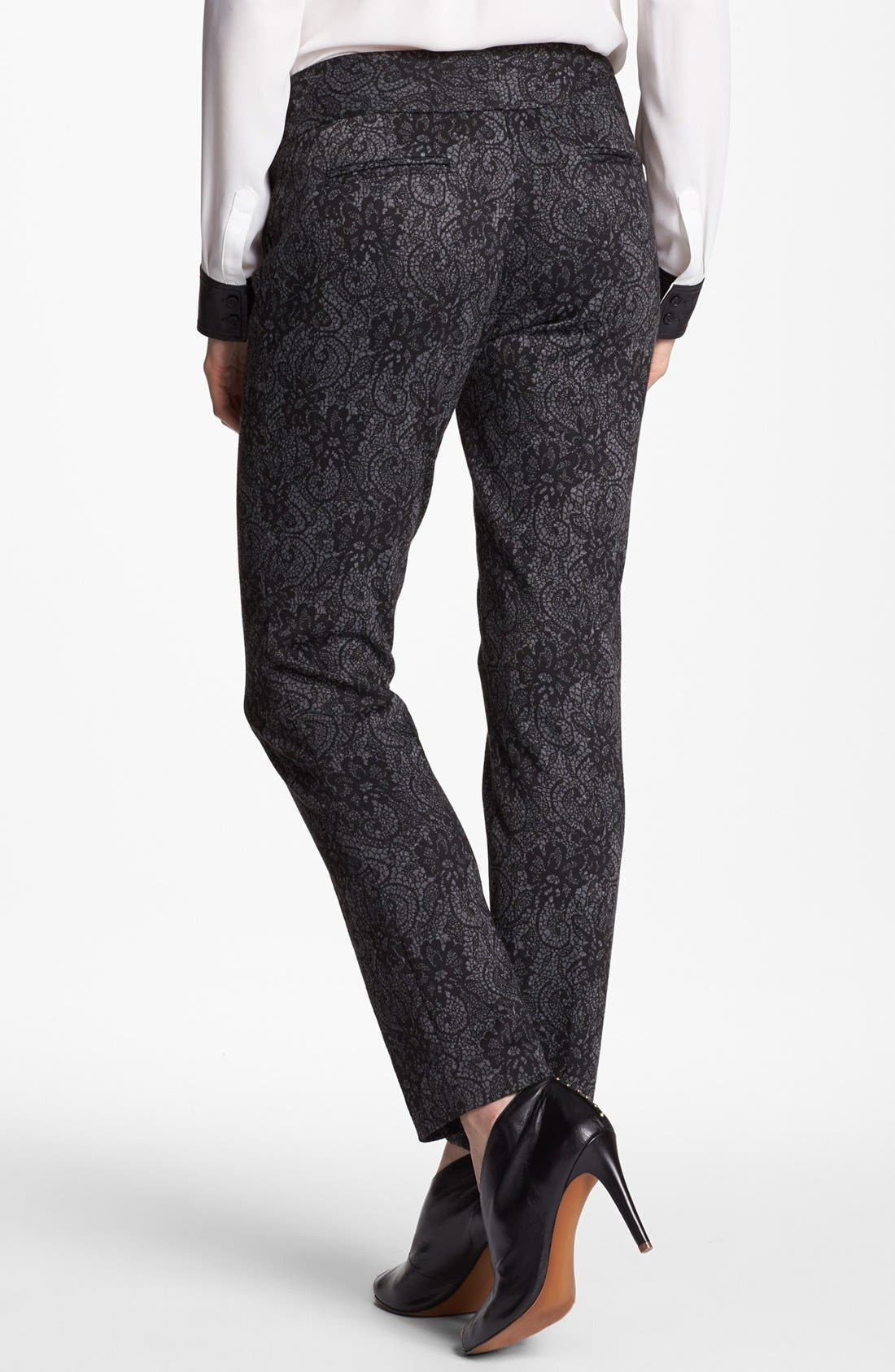 Alternate Image 2  - Vince Camuto Lace Print Ponte Ankle Pants (Petite)
