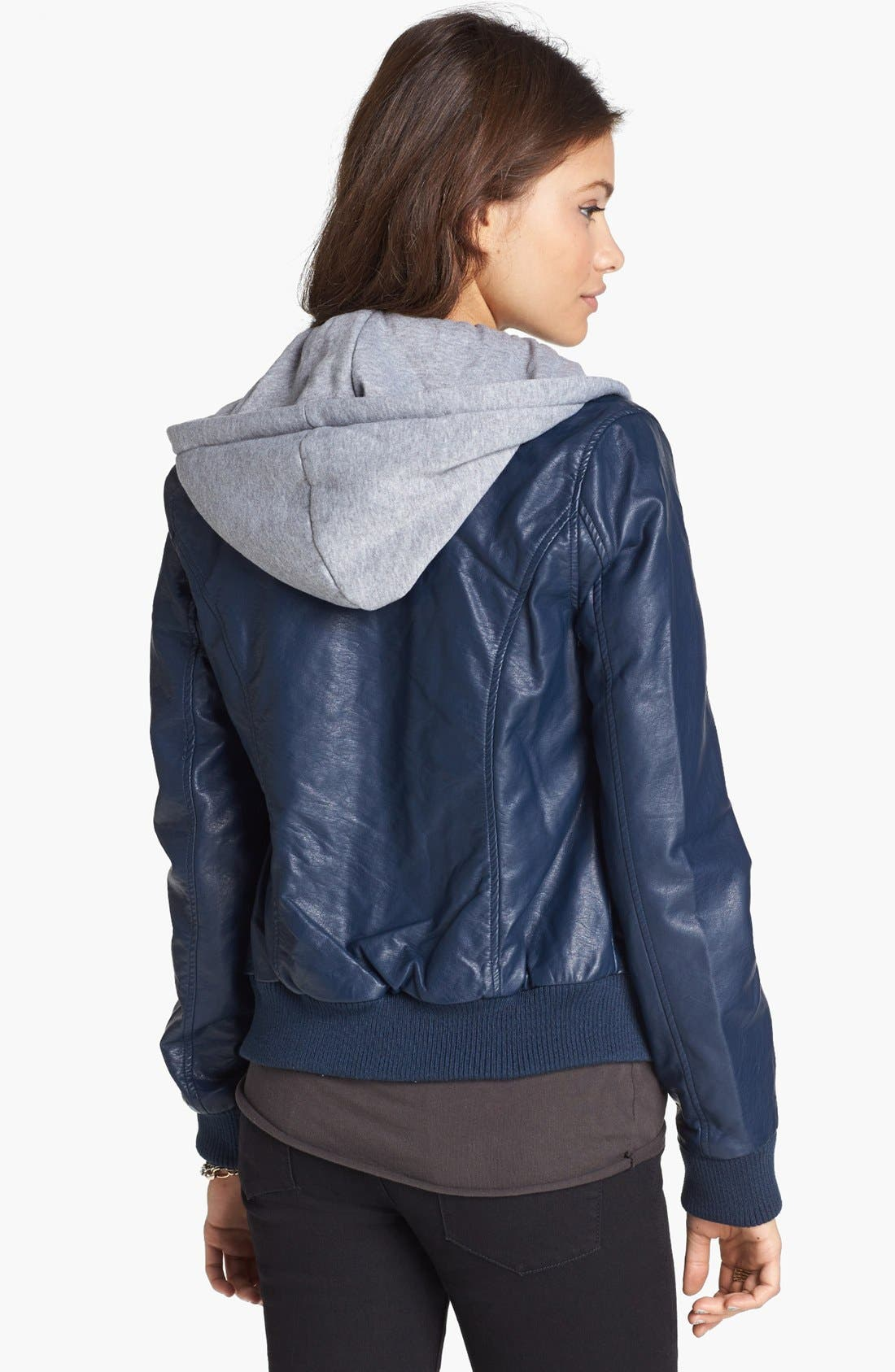 Alternate Image 2  - Thread & Supply Hooded Faux Leather Bomber Jacket